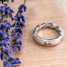 戒指訂製 方晶格-麻花平版刻字戒(亮面) 純銀戒指-64DESIGN