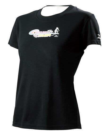 MIZUNO美津濃 女短袖T恤(黑),吸濕快排 游泳國手程琬容穿著