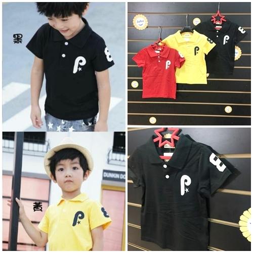 ☆棒棒糖童裝☆(117247)夏男童素面貼布P袖子數字POLO衫 5-15 黒;紅;黃