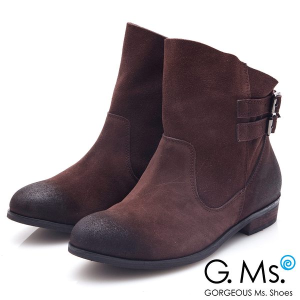 G.Ms.* 牛麂皮斜口皮帶釦低跟短靴*深咖啡