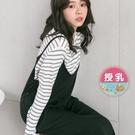 漂亮小媽咪 韓系哺乳裙 【B6257GU】 超值兩件組 條紋 哺乳衣 吊帶裙 背心裙 吊帶 長裙 長洋裝 []