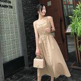 連身裙外穿極簡主義慵懶風復古吊帶裙