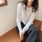 素色T恤 白色長袖T恤女寬鬆顯瘦圓領韓版純棉打底衫加絨秋冬純色內搭上衣 鹿角巷