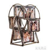 洗照片加摩天輪相框擺台5寸旋轉風車相架組合兒童婚紗相片框創意 可可鞋櫃
