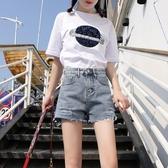 牛仔短褲高腰破洞牛仔短褲女夏韓版寬鬆闊腿學生網紅熱褲新年禮物
