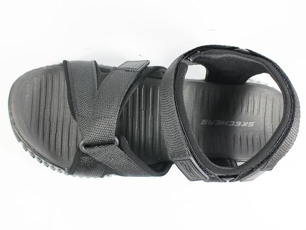 (A4)SKECHERS 涼拖鞋 Elite Flex-Linston 男 輕便 舒適緩震 夏日 全黑 51722BBK