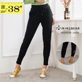 休閒褲--時尚舒適鬆緊繫帶口袋束口修身百搭休閒運動長褲(黑XL-5L)-P140眼圈熊中大尺碼