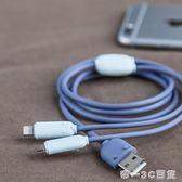 冇心蘋果安卓二合一兩用usb數據線可愛卡通iphone7創意6s六8手機充電線便攜式【帝一3C旗艦】