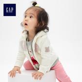 Gap女嬰兒 Logo布萊納小熊刺繡連帽長袖休閒外套 497492-象牙白
