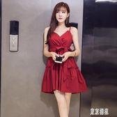 洋裝 夏季新款性感v領黑色吊帶連身裙夜店高腰小個子心機短裙子 mj14021『東京潮流』