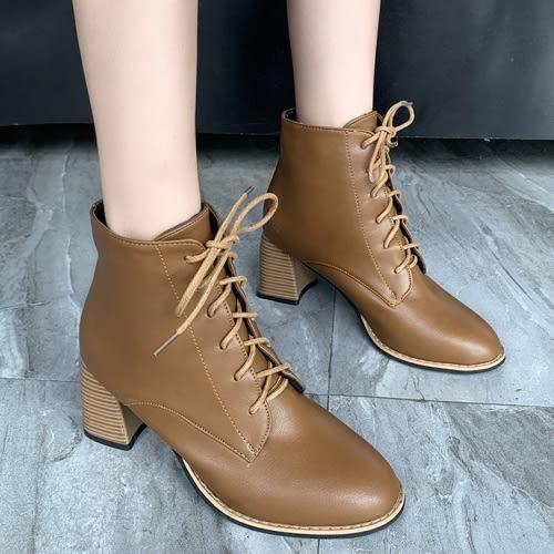 靴子.顯瘦百搭繫帶粗跟短靴.白鳥麗子