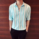 【免運】夏裝短袖T恤個性帥氣男士中袖襯衫發型師夜店酒吧男裝套頭5分袖潮
