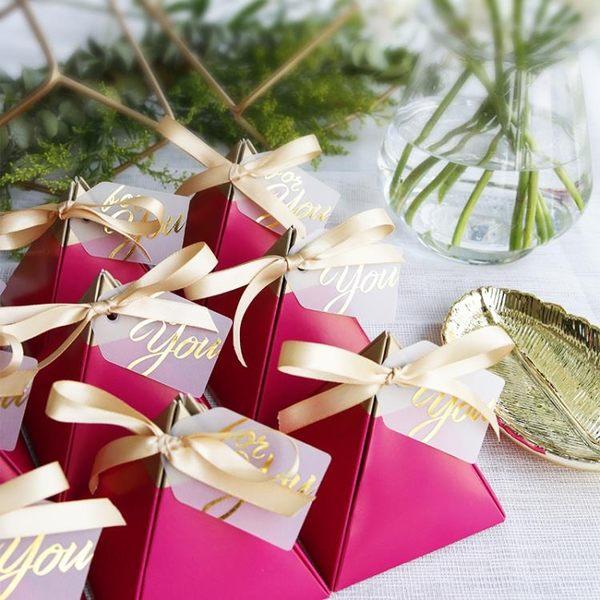 原創歐式玫紅結婚禮喜糖盒創立伴手禮盒個性滿月禮盒