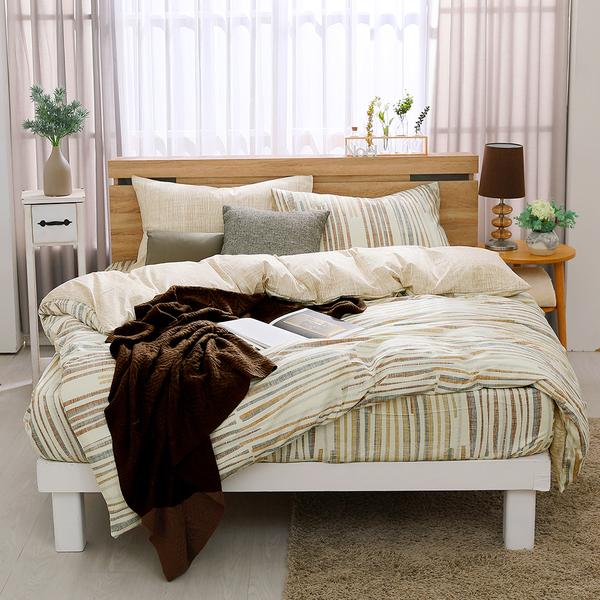 鴻宇 四件式雙人薄被套床包組 沐舍居咖 防蟎抗菌 美國棉授權品牌 台灣製2122