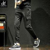 日韓修身縮口超彈力鬆緊綁帶多口袋工作長褲 黑《P50059 》