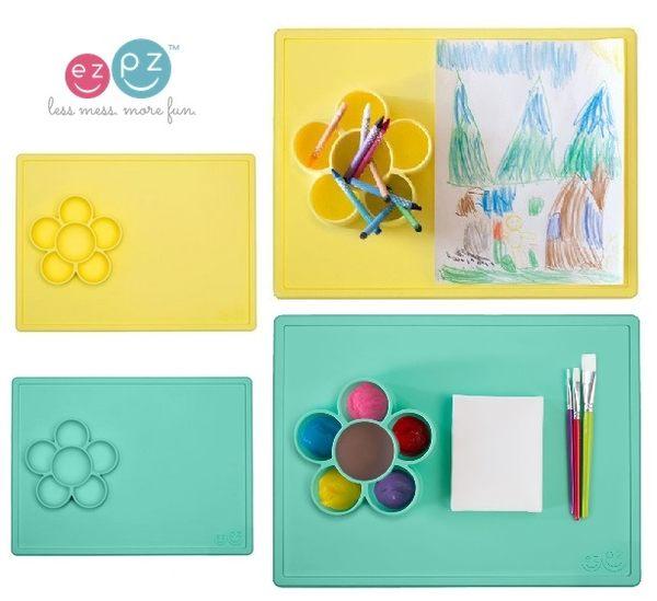 美國EZPZ矽膠幼兒餐具 小花遊戲盤 薄荷綠 烘焙 畫畫 手作 餐盤 盤子 里和 Riho