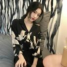 襯身女寬鬆顯瘦新款韓版深V復古仙鶴雪紡九...