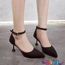 高跟鞋 尖頭單鞋女2021新款法式少女高跟鞋網紅細跟一字帶中空涼鞋女新品