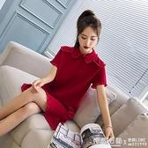 流行夏天桔梗裙子很仙法版小眾紅色小禮服洋裝女裝夏季  ◣怦然心動◥