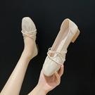 單鞋女中跟百搭夏季溫柔奶奶一腳蹬上班平底鞋豆豆鞋【慢客生活】