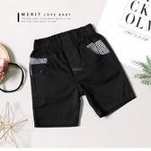 黑白格紋口袋撞色英文刺繡平織褲短褲休閒黑色哎北比