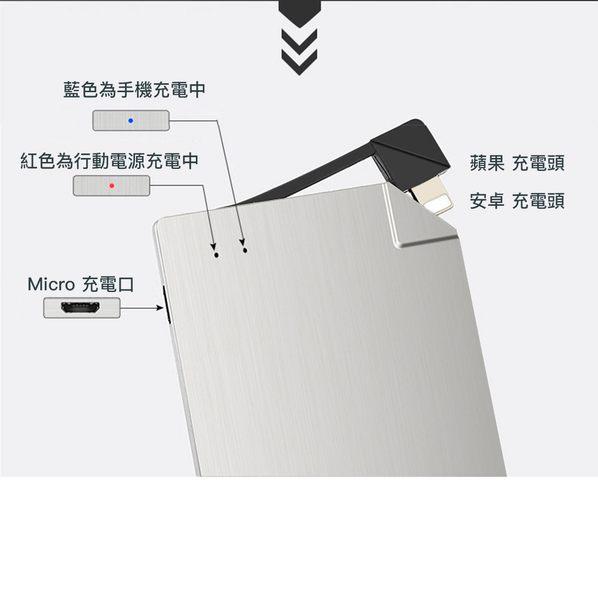 名片型 行動電源 1500mAh 超輕 超薄 易攜帶 卡片式 蘋果 安卓 Lightning