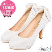 Ann'S甜美絮語-後跟立體大蝴蝶結防水台高跟鞋-白