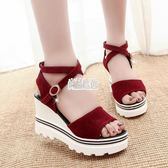 正韓夏季新款坡跟魚嘴鞋羅馬涼鞋鬆糕厚底女學生鞋高跟鞋女鞋