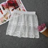 襯裙 韓版蕾絲鉤花透視網紗半身裙繡花
