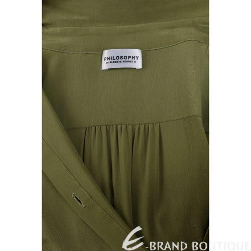 PHILOSOPHY 襯衫造型雙材質拼接洋裝(綠色) 1240261-08