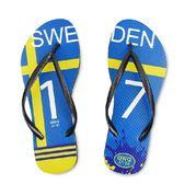 QWQ創意鞋-  世界盃足球紀念鞋 瑞典 細帶女款天然橡膠人字拖