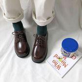 復古女平底單鞋學生原宿圓頭娃娃鞋百搭韓版學院風英倫小皮鞋   歐韓流行館