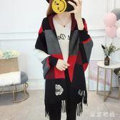 秋冬新款針織衫帶袖外搭流蘇披肩保暖圍巾寬鬆斗篷外套加厚 EY4981 『東京衣社』