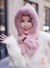 雷鋒帽女秋冬保暖圍脖毛絨圍巾一體套頭帽護耳【橘社小鎮】