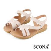 SCONA 全真皮 簡約舒適厚底涼鞋 粉芋色 22505-1