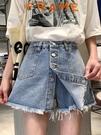 春秋韓版新款設計感高腰顯瘦單排扣外穿牛仔短褲女裙褲潮ins 夏季狂歡