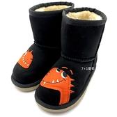 《7+1童鞋》CONNIFE 保暖舒適內刷毛 童趣小恐龍造型 半筒靴 雪靴 A762 黑色