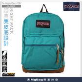 JANSPORT 後背包 43969-01H  孔雀藍  經典麂皮底  筆電後背包 MyBag得意時袋