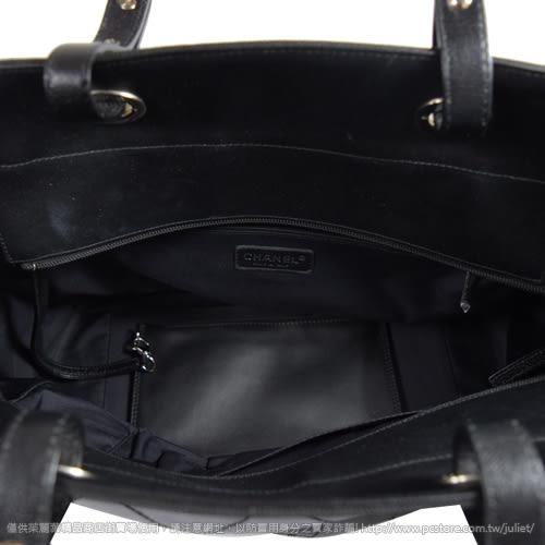 茱麗葉精品 二手精品【9成新】 CHANEL Paris-Biarritz 經典LOGO雙口袋肩背購物包.黑(大)