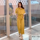 棉麻連身褲女夏韓版寬鬆顯瘦高腰垂感工裝闊腿短褲套裝潮【時尚大衣櫥】