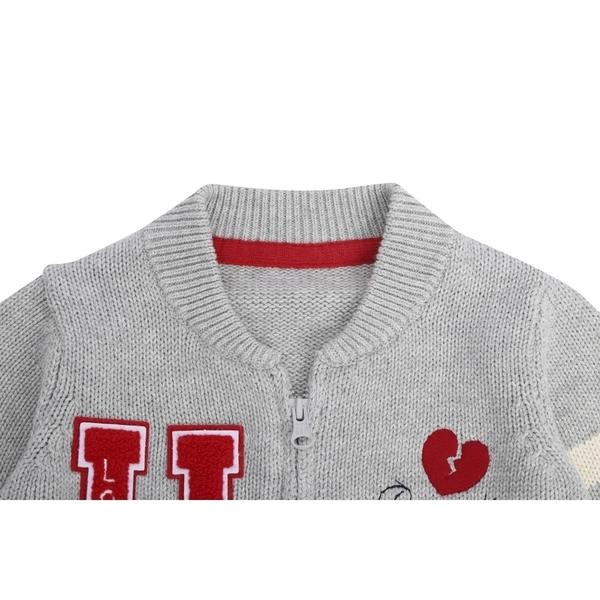Gap男女嬰兒童趣貼布針織棒球領上衣524642-淺麻灰