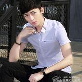 白襯衫男士短袖修身潮流學生青年短袖襯衣潮寸衫146 居樂坊生活館
