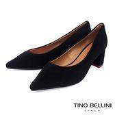 Tino Bellini奢華絨感羊麂皮中粗跟鞋_黑 TF8565
