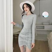 洋裝連身裙-夏秋韓版chic氣質顯瘦不規則抽繩縮褶修身包臀裙長袖打底連身裙潮Y25788
