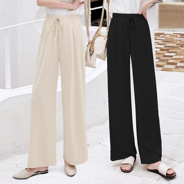 雪紡長褲 冰絲寬管褲女夏季2020新款墜感薄款直筒高腰寬鬆垂感雪紡拖地長褲