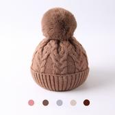麻花紋狐狸毛球針織帽 麻花 花紋 狐狸 毛球 針織 毛帽