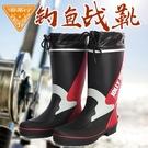 非常行時尚夏季戶外釣魚鞋 雨鞋男高筒平底防滑橡膠男士防水雨靴 小山好物