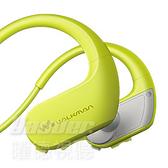 預購【曜德 買一送三】SONY NW-WS413 黃綠 4GB 防水極限運動數位隨身聽 / 送收納盒+耳塞+絨布袋