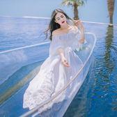一字領露肩修身氣質超仙連衣裙夏波西米亞海邊度假沙灘大擺長裙