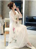 洋裝中國風年春季大碼胖MM棉麻 寬鬆假兩件印花棉麻中長款連身裙 衣櫥秘密